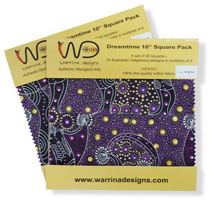 "The Dreamtime 10"" Square packs in purples are comprised of 20 different prints of Australian Aboriginal fabric, 2 squares of each print for a total of 40 squares."