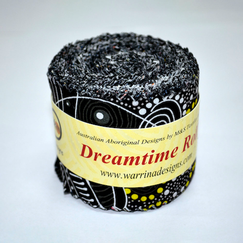"The Dreamtime Rolls of 20 black Australian Aboriginal Fabric strips (2.5"" wide) are composed of 10 different prints, two strips of each."