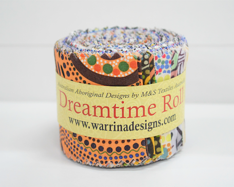 "The Dreamtime Rolls of 20 Multicolored Australian Aboriginal Fabric strips (2.5"" wide) are composed of 10 different prints, two strips of each."