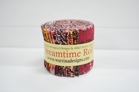 "The Dreamtime Rolls of 20 red Australian Aboriginal Fabric strips (2.5"" wide, 42"" long) are composed of 10 different prints, two strips of each."