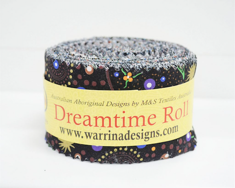 "The Dreamtime Rolls of 40 black Australian Aboriginal Fabric strips (2.5"" wide, 42"" long) are composed of 20 different prints, two strips of each."