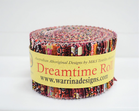 "The Dreamtime Rolls of 40 red Australian Aboriginal Fabric strips (2.5"" wide, 42"" long) are composed of 20 different prints, two strips of each."