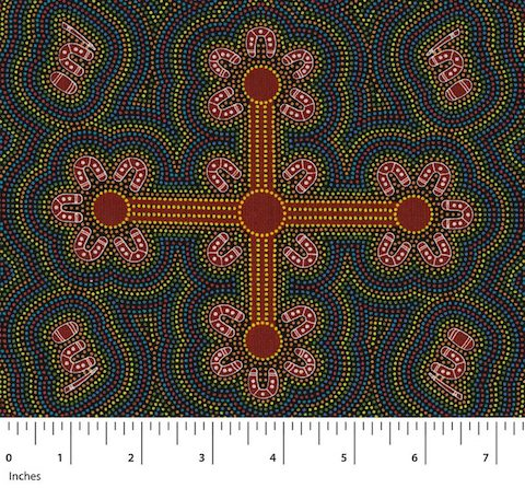 "This Australian Aboriginal fabric represents Ladies Dancing at a Ceremony in vibrant gold, red, pink and purple, the ladies being depicted as the ""U"" shaped symbols."