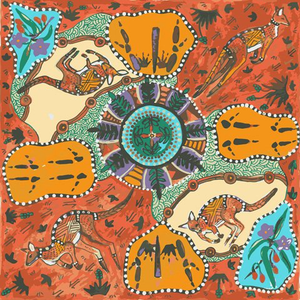 Mirram Mirram Aka Red Australian Aboriginal fabric by Nambooka depicts colorful kangaroos on an ecru background, surrounded by fauna and flora in red and turquoise.