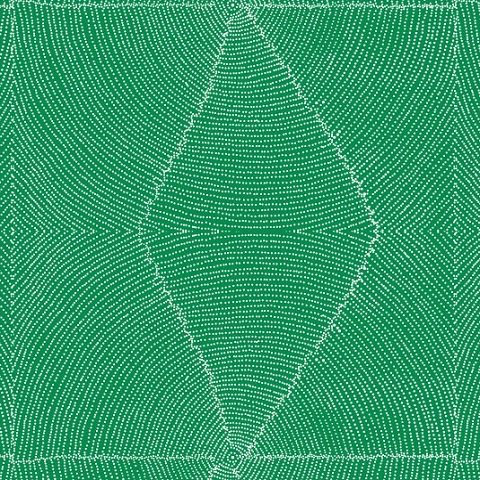 Plum Seeds Green Australian Aboriginal Fabric by Kathleen Pitjara depicts a cut-open Bush Plum where the white seeds are neatly arranged in circles around the middle pit with a green background