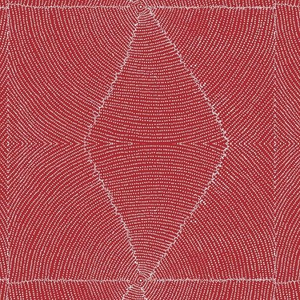 Plum Seeds Red Australian Aboriginal Fabric by Kathleen Pitjara depicts a cut-open Bush Plum where the white seeds are neatly arranged in circles around the middle pit with a red background