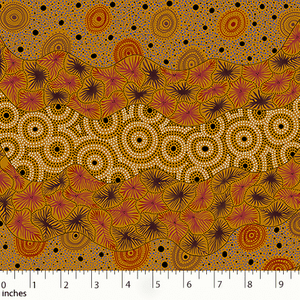 Wild Seed and Waterhole yellow Australian Aboriginal fabric by Tanya Price Nangala is a lovely design of seeds and wildflowers in black, burgundy and ochre on a golden yellow background.
