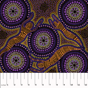 Winter Spirits purple Australian Aboriginal fabric by Fay Oliver depicts lovely spirits in orange, surrounded by flowers in purple and green, with lots of little dots in purple on a black background.