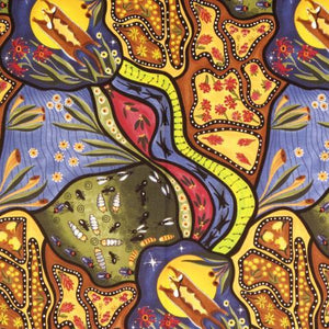 Bambillah Australian Aboriginal fabric designed by Nambooka depicts the flying glider at night which is a symbol of strength. The design portrays the spiritual world in the eyes of native Australians.