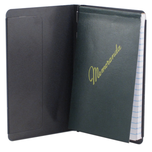 Padfolio with Writing Pad, Black Alum, Pocket Size, 3.5 x 5.5 paper