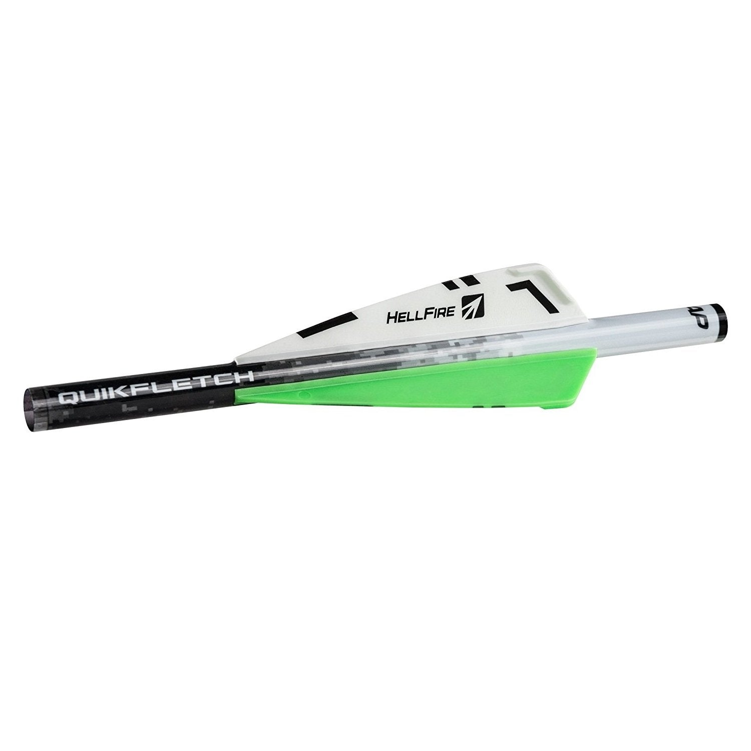 NAP Quikfletch 3in Hellfire Xbow - 6 Pack White/Green/Green