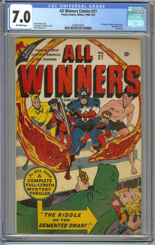 All-Winners #21 CGC 7.0 with Off-White Pages - Bondage Cover - Last Issue