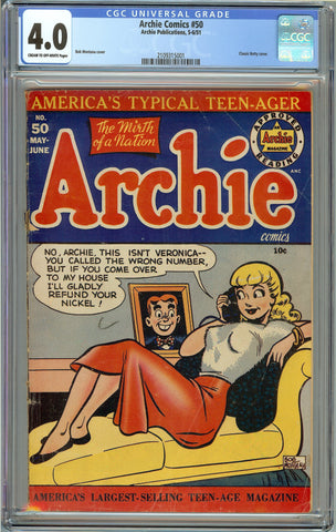 Archie Comics #50 CGC 4.0 with Cream to Off-White Pages - Classic Betty Cover