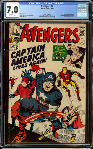 Avengers #4 CGC 7.0 OW - 1st Silver Age Appearance of Steve Rogers Captain America