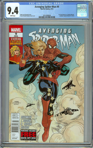 Avenging Spider-Man #9 Newsstand Copy CGC 9.4 White Pages - 1st Carol Danvers as Captain Marvel