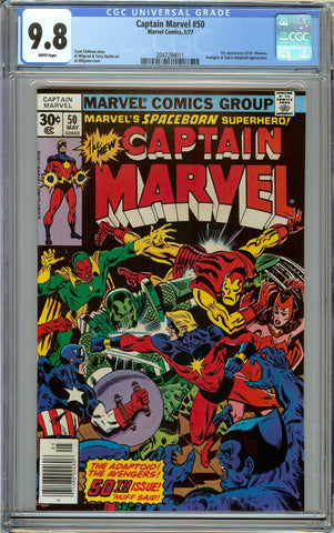 Captain Marvel #50 CGC 9.8 with White Pages - 1st Dr. Minerva