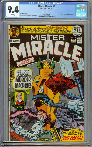 Mister Miracle #5 CGC 9.4 with White Pages - Jack Kirby - 1st Virman Vundabar - 2nd Big Barda