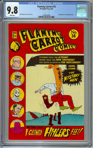 Flaming Carrot #16 CGC 9.8 with White Pages - 1st Appearance of the Mystery Men - Hitler's Feet