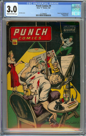 Punch Comics #3 CGC 3.0 with Cream to Off-White Pages - Classic Chesler Hanging Cover