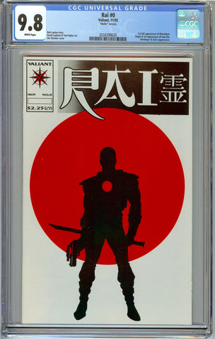 Rai #0 (Matte) CGC 9.8 with White Pages - 1st Full Appearance of Bloodshot - 1st New Rai
