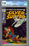 Silver Surfer #4 CGC 7.0 with White Pages - Classic vs. Thor Cover by John Buscema