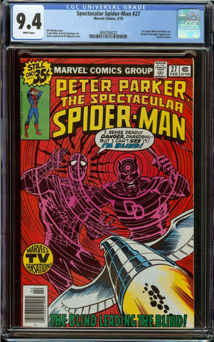 Spectacular Spider-Man #27 Newsstand CGC 9.4 with White Pages - 1st Frank Miller Daredevil Art