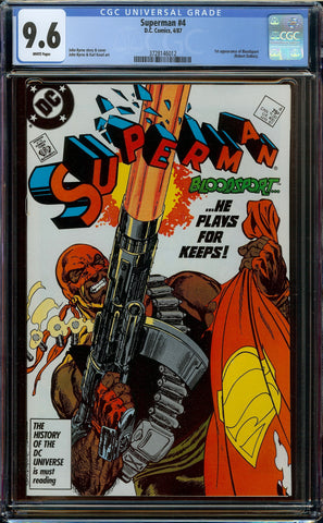 Superman #4 (1987) CGC 9.8 WP - 1st Appearance Bloodsport (Robert DuBois)