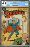 Superman #4 CGC Conserved 4.5 with Off-White Pages - 2nd Appearance of Lex Luthor