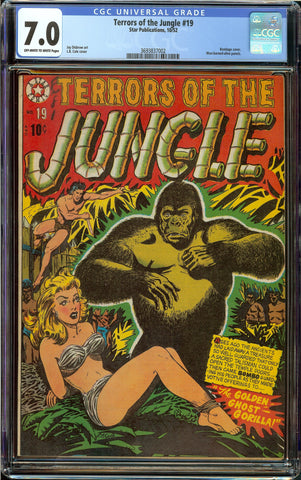 Terrors of the Jungle #19 CGC 7.0 with Off-White to White Pages - L.B. Cole Bondage Cover - 4th Highest Graded