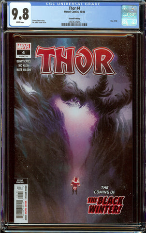 Thor #4 2nd Print (2020) CGC 9.8 with White Pages - 1st Cameo Appearance of Black Winter