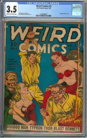 Weird Comics #4 CGC 3.5 with Cream to Off-White Pages - Joe Simon Cover - Bondage Torture Cover