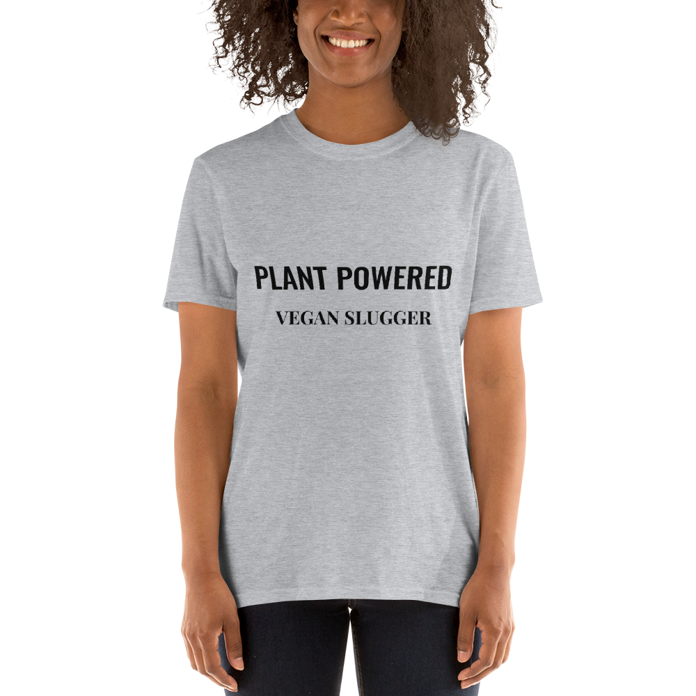 Plant Powered T-Shirt Grey Vegan Slugger
