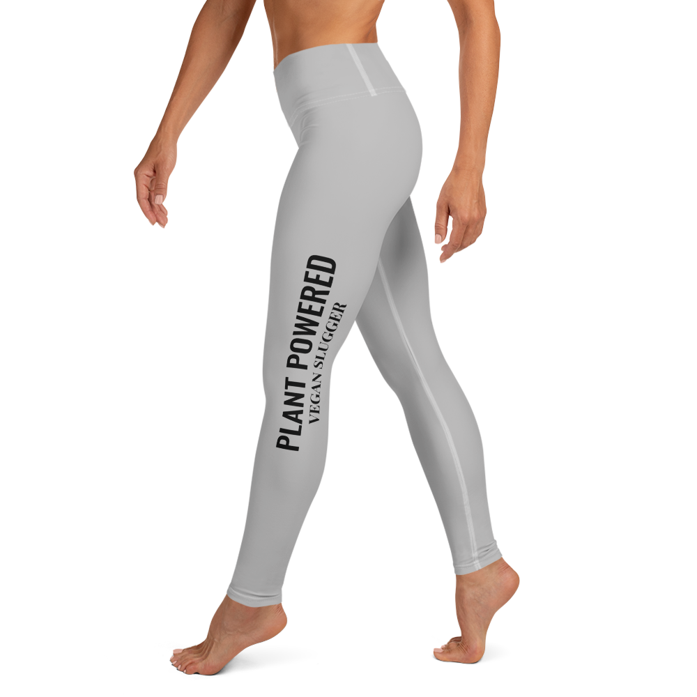 Plant Powered Yoga Leggings Grey Vegan Slugger
