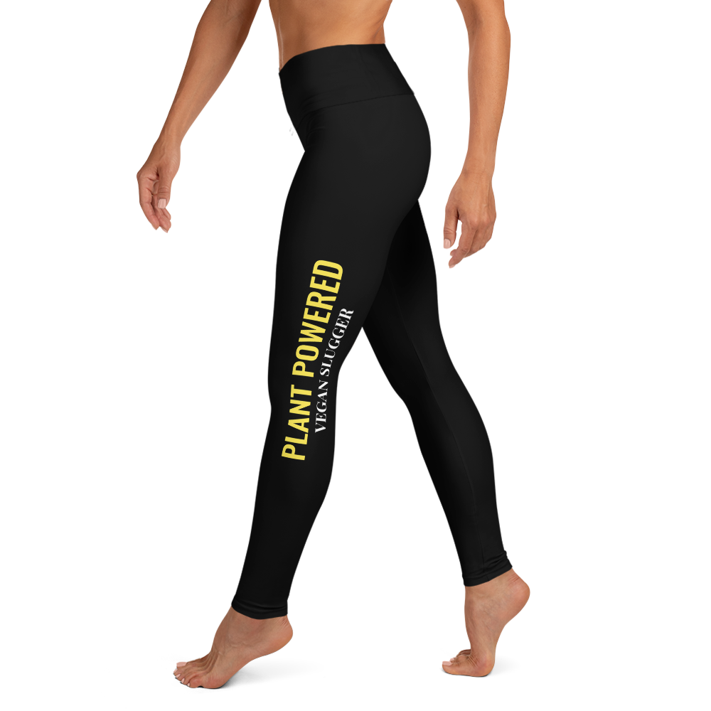 Plant Powered Yoga Leggings Black Vegan Slugger