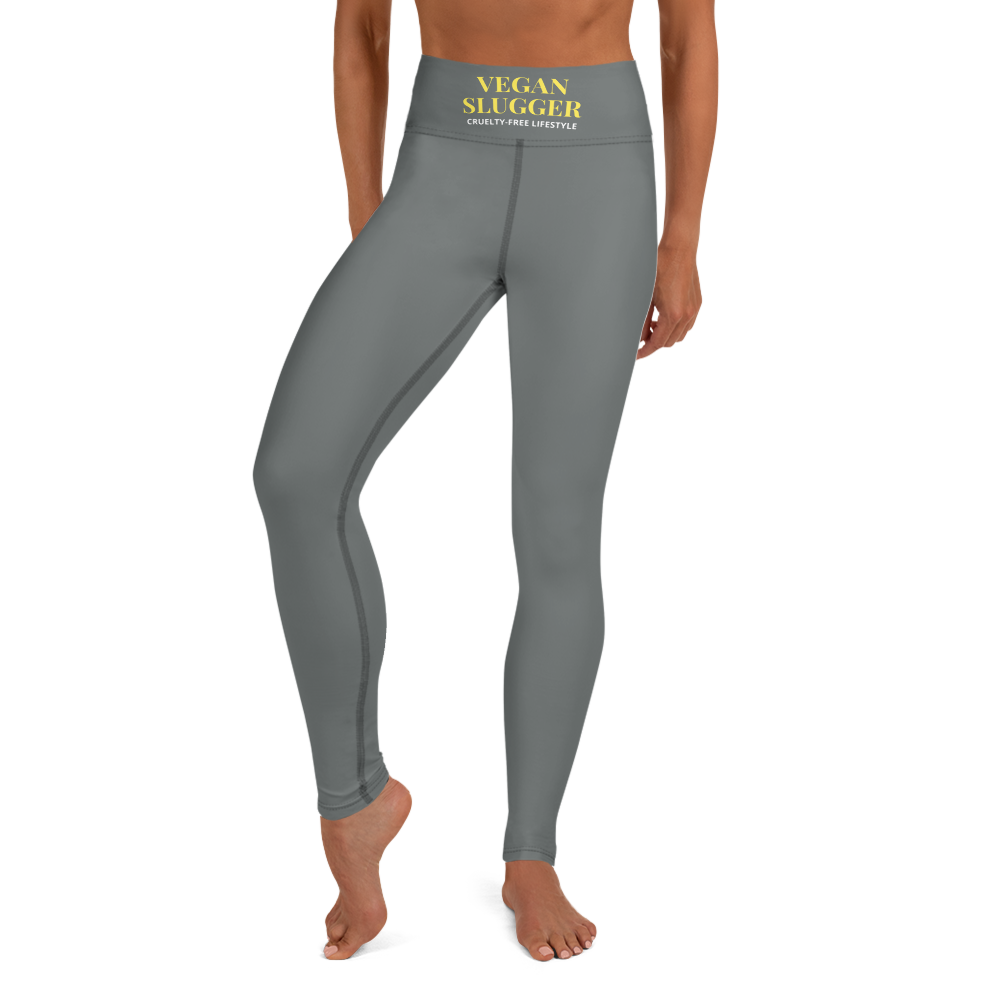 Classic Top Band Yoga Leggings Dark Grey Vegan Slugger