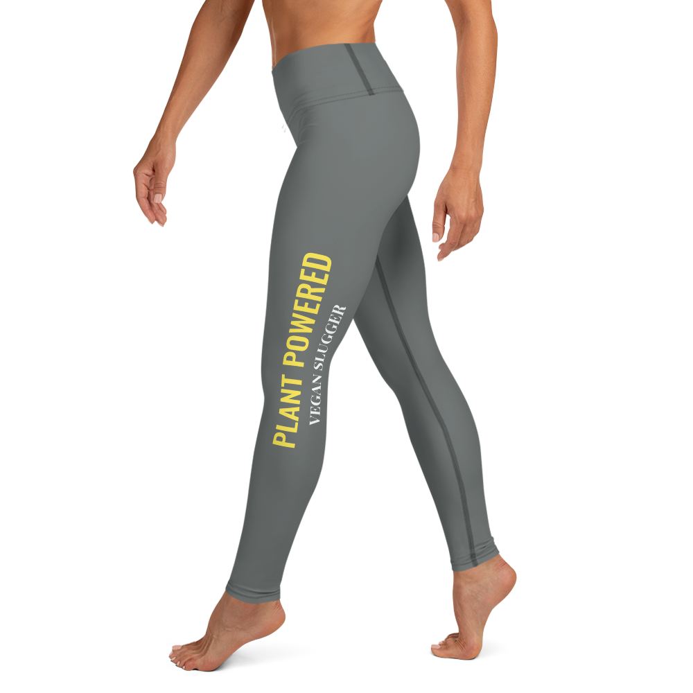 Plant Powered Yoga Leggings Dark Grey Vegan Slugger