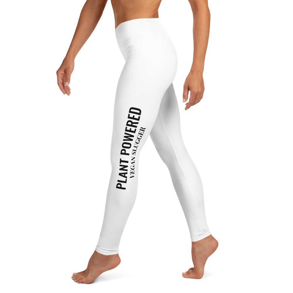 Plant Powered Yoga Leggings White Vegan Slugger