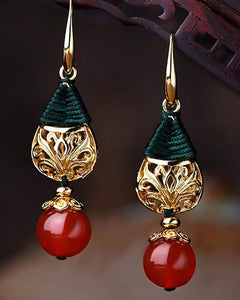 Vintage Ethnic Gold-plated Agate Earrings
