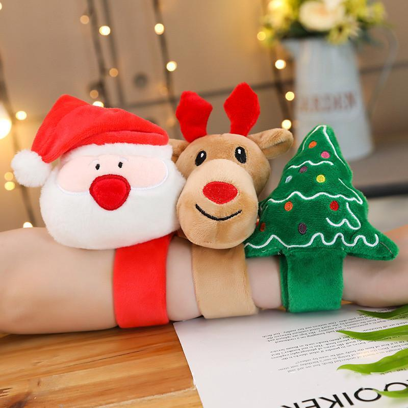 Christmas Slap Bracelet Plush Wrist Circle Slap Strap Light Clap Ring