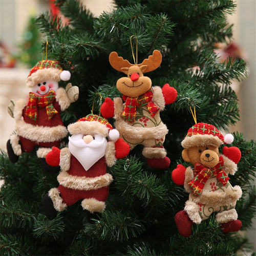 2020 Merry Christmas Ornaments Christmas Gifts Santa Snowman Tree Toy Doll Hanging Home Decorations