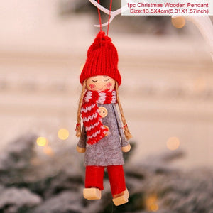 (Children's Christmas Gift) Home Wooden Christmas Tree Decoration Cute Angel Doll