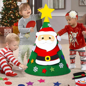 3D DIY toddler felt Christmas tree with snowman Santa Claus ornaments kids gift toys