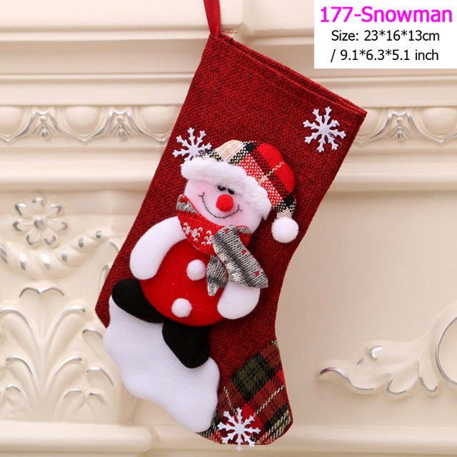 Santa Snowman Pendant Christmas Ornaments New Year Socks Christmas Decorations for Home Merry Christmas Tree Decorations Navidad