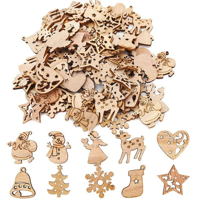 50pcs Wooden 2019 Christmas Decorations Mini Tree Ornaments Santa Claus Snowman Deer Xmas Party Decoration for Home New Year