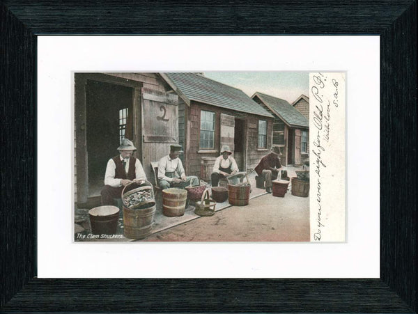 Vintage Postcard Front - Clam Shuckers