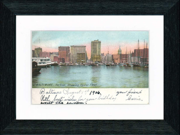 Vintage Postcard Front - Baltimore Harbor & Oyster Fleet