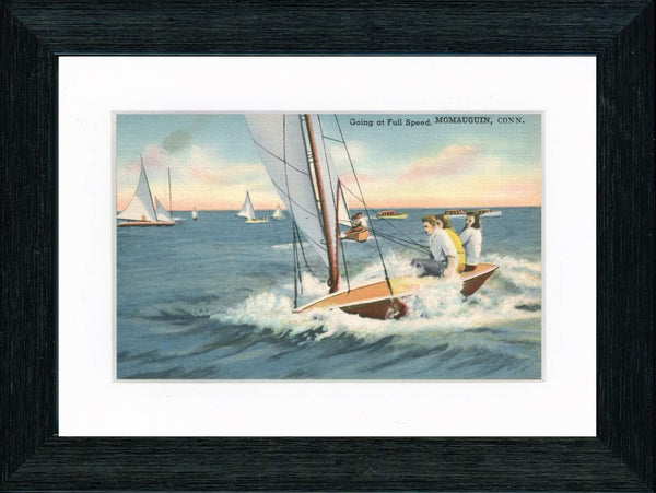"Vintage Postcard Front - Momauguin Connecticut Sailing ""Full Speed"""
