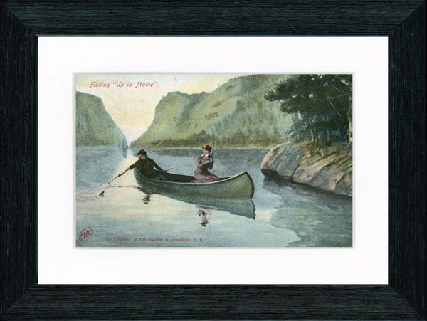 Vintage Postcard Front - Fishing Up in Maine