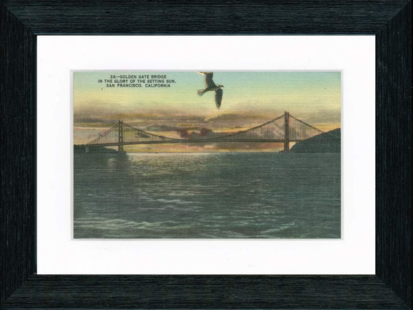 Vintage Postcard Front - Golden Gate Bridge Sunset