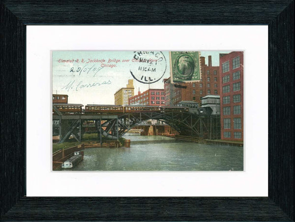 Vintage Postcard Front - Chicago River Jackknife Bridge